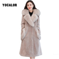 Wholesale mink fur capes - YOCALOR Fashion Faux Fox Fur Cape Pelt Windbreaker Women Winter Leather Female Jacket Mink Coats Coat Cardigan Furry Artificial