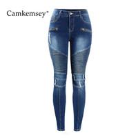 taille 23 jeans achat en gros de-CamKemsey 3XL Plus Taille Moteur Zips Ripped Jeans Femme Mid Taille Stretch Skinny Crayon Pantalon Pantalon Femme