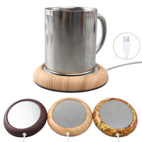 escritorio de aluminio al por mayor-USB Cup Warmer Coaster Metal Portable Office Home USB Eléctrico Powered Desktop Tea Coffee Beverage Cup Taza Warmer Mat Pad Placa de aluminio