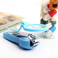Wholesale cutter baby - Creative Baby Pocket Toe Nail Clipper Cutter with Magnifying Glass Trimmer Manicure Pedicure Care Scissors Tools