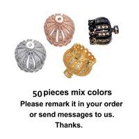 chapeaux de perles de cuivre achat en gros de-Fournitures Pour Bijoux En Gros 50 pièces Zircon Cuivre Couronne Perles Glands Caps Glands Frangé Accessoires DIY Faire Boucle D'oreille Résultats