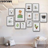 sebze kapları toptan satış-FOOCAME Ekmek Makinesi Kek Sebze Kahve Pot Sofra Posterler ve Baskılar Sanat Tuval Boyama Ev Dekorasyon Duvar Mutfak