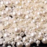 pérolas para unhas lisas venda por atacado-Mista Flat Back Pearls Tamanho Misto Prego Pérolas para Unhas Acrílico Nail Supply Art Nail Rhinestone Decorações Chegam Novas ZJ1233