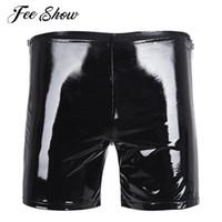 pantalones negros brillantes para hombre al por mayor-Negro para hombre Shiny Wetlook charol con cremallera lateral Hot Boxer Short Pants Shiny Slim Fit cómodo Boxer Shorts Clubwear