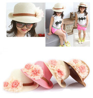 Wholesale travel straw hats - Fashion cute sweet girls toddlers sunhat travel sun cap children spring flowers straw hat free shipping