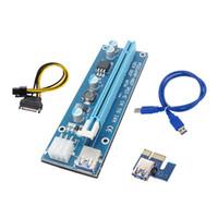 pci e 1x riser al por mayor-10Set ver007 USB 3.0 PCI-E Riser 1x 4x 8x 16x Express Riser Extender Tarjeta adaptadora Cable de alimentación SATA de 6 pines para Bitcon Miner