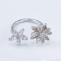 925 dame ring blume großhandel-Luxus Edle Blume Fingerringe für Damen 100% Echt 925 Sterling Silber Elegant Zirkon Einstellbare Open Ring Geschenk YMR126