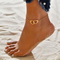 ayak kelepçeli toptan satış-Vintage Moda Yaz Plaj Halhal kelepçe Infinity Ayak Takı Altın Gümüş Zincir Halhal Ayak Zinciri Kadınlar için ücretsiz kargo