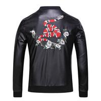 Wholesale Leather Jacket Hoodie - 2017 mens Tiger head Leather jackets sportswear Fashion Windbreaker marks Zipper hoodies Coats Outwear men's north jacket tags black