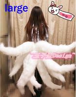 trajes fox tails venda por atacado-Lol Trajes Cosplay Sexy Fox LOL Ahri Dinastia da cauda Ahri Nove-Cauda Adulto Mulheres Anime Halloween Carnaval Trajes Cosplay