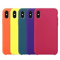 Wholesale Line Gel - Official Original Liquid Silicone Gel Rubber with Soft Microfiber Cloth Lining Cushion Cover Case For iPhone X 8 Plus 7 6 6S With Retail Box