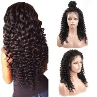 Wholesale virgin curly human hair lace wig online - Full Lace Wig Brazilian Malaysian Deep Wave Hair full lace human hair wigs Remy Virgin Hair Curly lace front wigs For Black Women