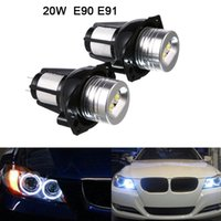 Wholesale bmw led marker - 2pcs 1200LM E90 E91 20W Headlight Angel Eye Ring Marker Halo Light Led for BMW CLT_60B