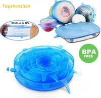 Wholesale kitchen accessories online - 6pcs set silicon stretch lids universal lid Silicone food wrap bowl pot lid silicone cover pan cooking Kitchen accessories