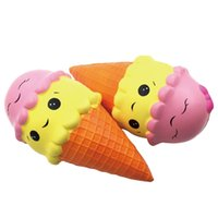 Wholesale facing giants - Giant 18cm Smile Face Ice Cream Squishy Double Head Torch Slow Rising Cone Jumbo Squeeze Decompression Toys