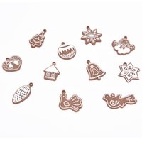 Wholesale polymer clay making - 1pcs Cartoon Animal Snowflake Biscuits Hanging Christmas Tree Ornaments Hand Made Polymer Clay Christmas Decorations