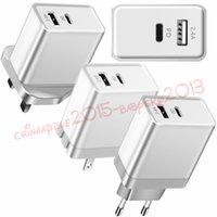 android-ladegerät uk großhandel-Telefon Ladegerät Wand Ladegerät Schnellladung Typ C Power 2 Ports Travel Wall Schnellladegerät für iPhone 7 8 X Samsung S7 S8 Android-Handy Eu US UK