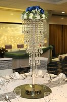 Wholesale Tall Crystal Stands - NEW H80cm Tall Crystal Wedding Centerpiece Table Chandelier Flower Stand Wedding Props