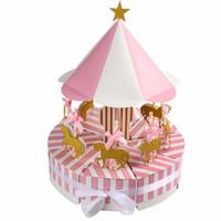 ingrosso favori di nozze in scatola-1PC Carousel Paper Gift Box Bomboniere e regali Unicorno Baby Shower Candy Box Decorazioni per feste di compleanno Kids