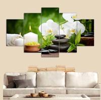 ingrosso grandi manifesti decorativi murali-5 pannello grande poster stampato in HD pittura pietra bianca fiore stampa su tela decorativa domestica wall art per soggiorno