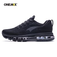 Wholesale footwear soccer shoes online - ONEMIX Men Running Shoes For Women Black Air Cushion Athletic Trainers Tennis Sports Footwear Mesh Breathable Outdoor Trail Walking Sneakers