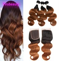Wholesale ombre closure wefts resale online - Indian Human Hair Lace Closure With Bundles B Body Wave Ombre Hair Wefts With Closure Middle Three Free Part Body Wave B