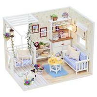 kits de casa de madera en miniatura al por mayor-Nuevos muebles de casa de muñecas Kits DIY miniatura de casa de muñecas de madera con LED + Muebles + cubierta Casa de muñecas habitación HB