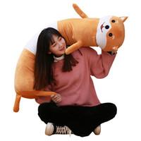 Wholesale anime panda plush resale online - Dorimytrader kawaii animal chick hamster panda Shiba Inu Long pillow sleeping cushion anime plush toy for kids lover gift inch cm