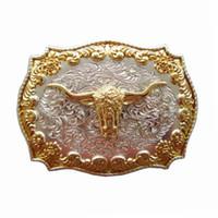 toro occidental al por mayor-Moda American Western Cowboy Vintage Gold Bull Head Metal Cinturón Hebilla Motocicleta Hombres Accesorio de la correa