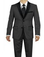 pieza de esmoquin gris carbón al por mayor-Brand New Charcoal Grey 2 piezas traje hombres boda Tuxdos High Quality Groom smokings negro muesca solapa lado ventilación hombres Blazer (Jacket + Pants + Tie) 2