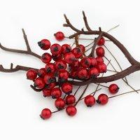 ingrosso bacche artificiali-1 cm 50pcs fiori artificiali stami bacche rosse ciliegia falso schiuma liscia frutta per la decorazione di nozze di Natale