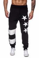 jogger calças estrelas venda por atacado-Outono Mens Calças Esportivas Ativas Estrela Impresso Calças Masculinas Calças Dos Homens Calças de Listras Elásticas Sweatpants Corredores Pantalones