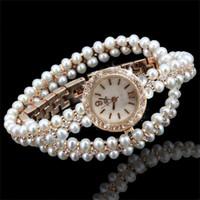 свадебные наручные часы оптовых-Новый бренд часы роскошные многослойные жемчужные цепи женские кварцевые часы женская мода свадьба наручные часы Relojes