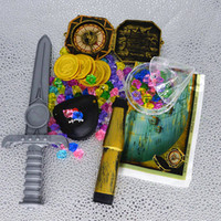 ingrosso pietre acriliche di plastica-Kids Plastic Gold Treasure Coin Mappa Bussola Captain Pirate Box Crystal Diamond Treasure Chest Pietre acriliche Gem Toys