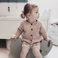 hand stricken baby pullover großhandel-2018 neue INS Kid Strickjacke Pullover Boutique Baby Jungen Mädchen Kleidung Dimond stricken 100% Baumwolle Herbst Winter