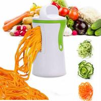 gemüse frucht spirale schneidemaschine großhandel-Handgemüsespiralenschneider Obstschneider Häcksler Schäler Küche Gemüsespiralenschneider Spiralisierer Twister Shredder Gerät Werkzeuge AAA325