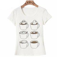 neue design-tops für mädchen großhandel-Neue Mode brauchen mehr Kaffee Pls T-Shirt Frauen niedlich Kawaii T-Shirt schöne Faultier in Kaffeetasse Design Neuheit Tops Mädchen Spaß T-Shirt