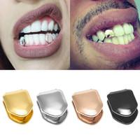 parrilla de metal al por mayor-Tirantes Solo metal diente Grillz Oro plata Color Dental Grillz Parte superior inferior Hiphop Teeth Caps Joyería del cuerpo para mujer Hombre Moda Vampiro