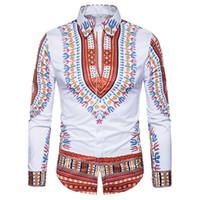 geleneksel basılı elbiseler toptan satış-Geleneksel Afrika Dashiki Gömlek Erkekler 3D Baskı Erkekler Gömlek Uzun Kollu Slim Fit Erkek Gömlek Casual Pamuk Mens Elbise Gömlek