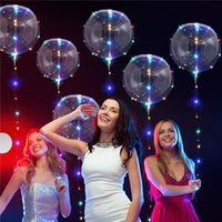 Wholesale Helium Balloon Party - 18 inch Clear Foil Helium Bobo Balloons with Copper LED Light Bar String Light Creative Balloon for Birthday Wedding Christmas Party Lights