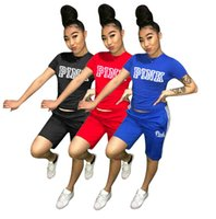 Wholesale tennis suits girls - Love PINK WOMEN Tracksuits girl Summer Sport Wear Yoga Suits Fitness Shorts Gym Short sleeve Tops T shirts Running Set Jogger Suit S-3XL Hot