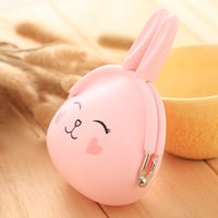 petit sac à main achat en gros de-2018 New Fashion Coin Purse Belle Kawaii Cartoon Lapin Pouch Femmes Filles Petit Portefeuille Doux Silicone Coin Sac Enfant Cadeau