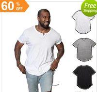 Wholesale Blank Tee Top Shirts - men's T Shirt Kanye West Extended T-Shirt Men's clothing Curved Hem Long line Tops Tees Hip Hop Urban Blank Justin Bieber Shirts