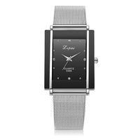 часы для женщин серебристый оптовых-Women Bracelet Watch Fashion Silver Rectangle  Crystal Wrist Watch Women Watches Quartz Stainless Steel Women's Watches