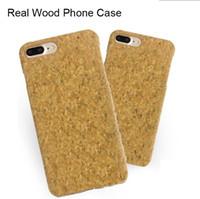 boîtier en bois naturel achat en gros de-Creative Real Cork Téléphone Bois Cas Pour iphone X 7 8 6 6 S plus Naturel Cork Téléphone portable Case Cover ultrathin antichoc Retour Cas Pour iphone X