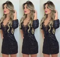 Wholesale black eyelash lace - 047 2018 new autumn and winter black shiny eyelashes dress mini dress