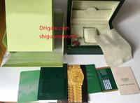 coffrets en cuir achat en gros de-Boîte de montres pas cher Boîte de montres pour hommes Original hommes femmes Coffrets-cadeaux de montres-bracelets Boîte en cuir vert Etiquettes et papiers en anglais