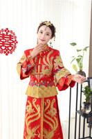 vestido formal vermelho estilo chinês venda por atacado-Estilo tradicional chinesa Mostrar roupas outono inverno formal vermelho vestido de noiva vestido de noite traje de noiva vestido de noiva Dragão