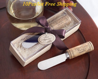 Wholesale witch box - (10 Pieces lot) wine-themed wedding favors of Vintage Reserve Stainless-Steel Spreader with Wine Cork Handle Wedding gifts