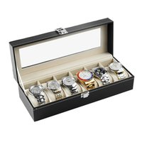 Wholesale Bracelet Organizer Box - PVC Leather Watch Boxes Case 6 Grids Watches Bracelet Jewelry Storage Holder Organizer Case Display Box Gifts for Friends&Lover
